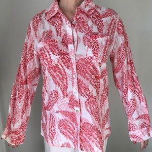 Merona Coral Print Button down shirt, S